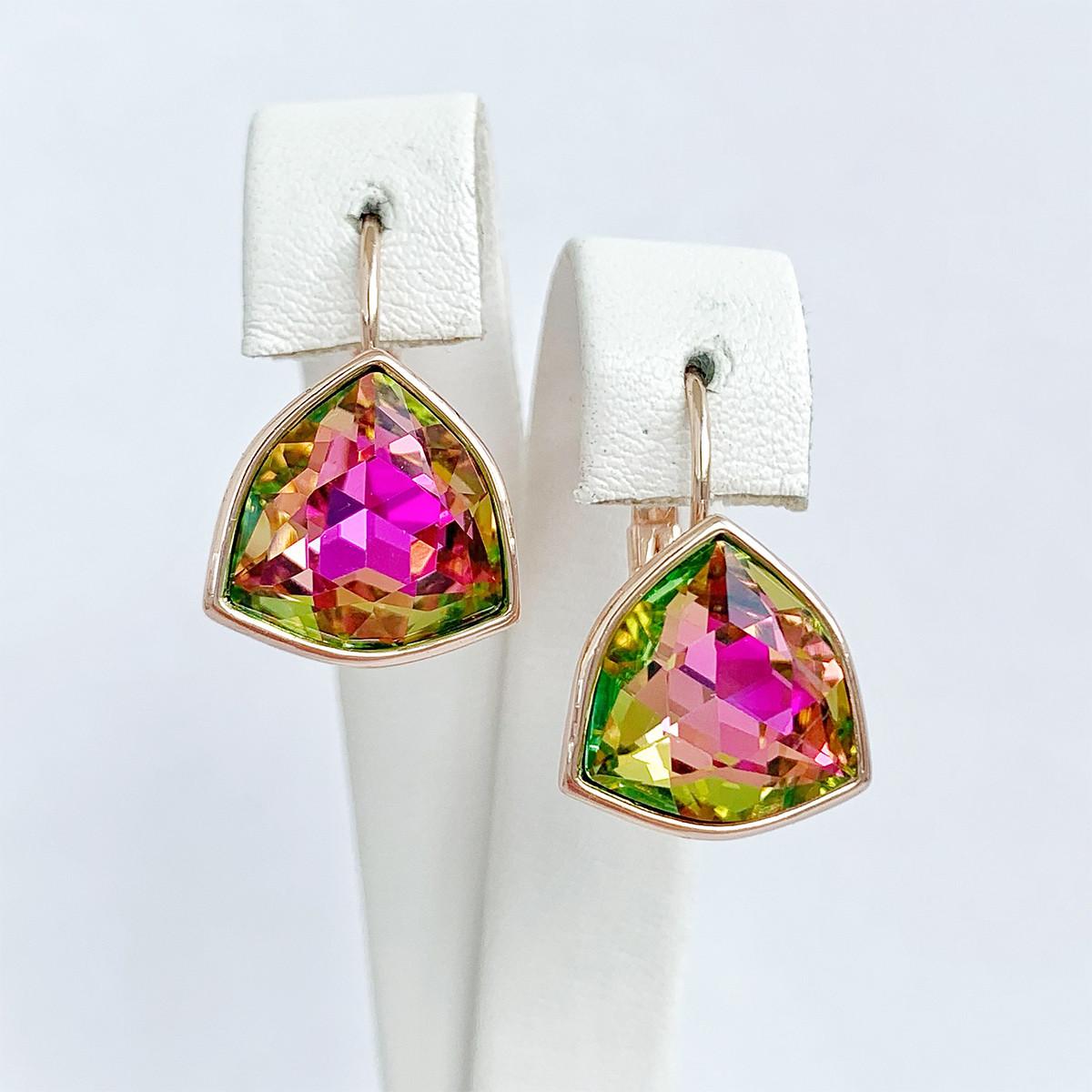 Серьги SONATA из медицинского золота, кристаллы Swarovski фиолетово-зеленого цвета, позолота PO, 25720
