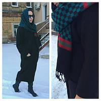 Стильное зимнее шерстяное пальто кокон темно-синее