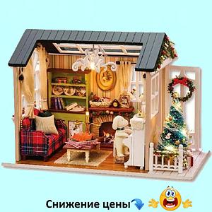 """Будиночок """"Різдвяна ніч"""" - Конструктор для дітей з дерева, ляльковий будиночок, модель будиночка ручної збірки"""