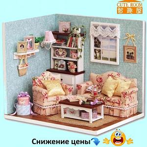 """Будиночок """"Верона - Вітальня"""" - Конструктор для дітей з дерева, ляльковий будиночок, модель будиночка ручної збірки"""