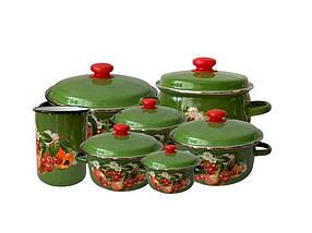 Набір емальованого посуду Idilia Зелені яблука і вишні 7 пр 3л/4л/3,5 л/5л/3л/5,5 л/к1,5л (4044)