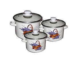Набір емальованого посуду Idilia Кошик лаванди молочний 3 предмета 2л/3л/5,5 л (№752)