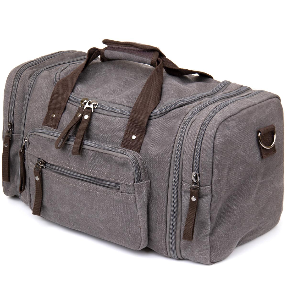 Дорожная сумка текстильная Vintage 20665 Серая