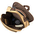 Рюкзак текстильный дорожный унисекс на два отделения Vintage 20616 Бежевый, фото 3