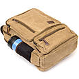 Рюкзак текстильный дорожный унисекс на два отделения Vintage 20616 Бежевый, фото 5