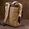 Рюкзак текстильный дорожный унисекс на два отделения Vintage 20616 Бежевый, фото 9