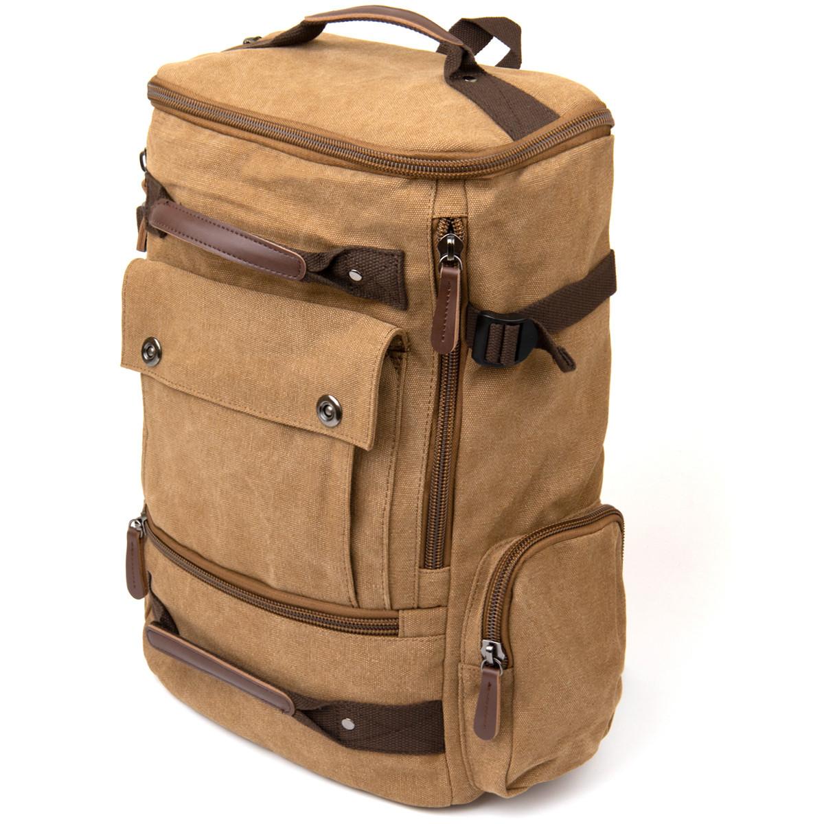 Рюкзак текстильний дорожній унісекс з ручками Vintage 20664 Пісочний