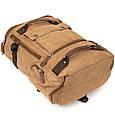 Рюкзак текстильний дорожній унісекс з ручками Vintage 20664 Пісочний, фото 5