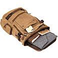 Рюкзак текстильний дорожній унісекс з ручками Vintage 20664 Пісочний, фото 6