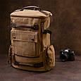 Рюкзак текстильний дорожній унісекс з ручками Vintage 20664 Пісочний, фото 7