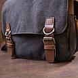Сумка почтальонка текстильна Vintage 20604 Чорна, фото 7