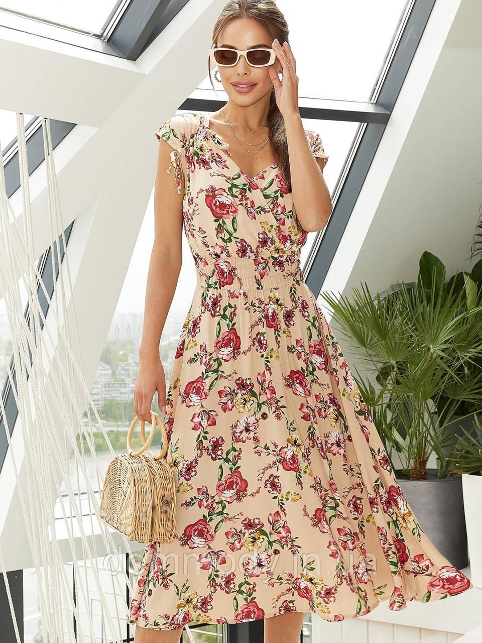 Штапельное женское платье-миди с принтом