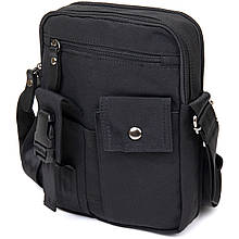 Універсальна чоловіча текстильна сумка на два відділення Vintage 20660 Чорна