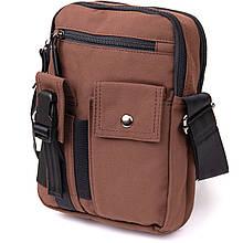 Універсальна чоловіча текстильна сумка на два відділення Vintage 20661 Коричнева