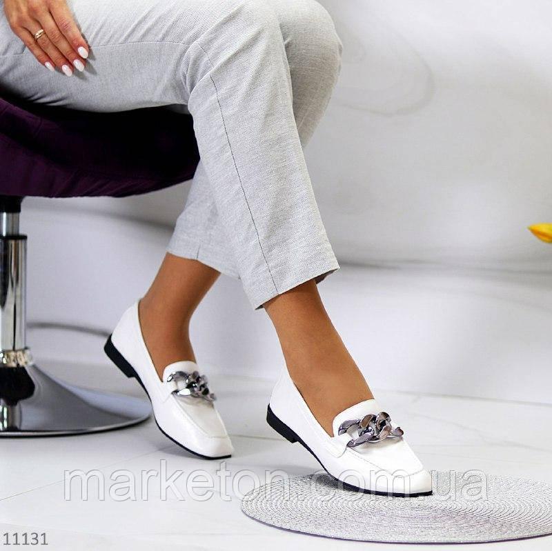 """Жіночі туфлі на низькому ходу Білі """"Office"""""""