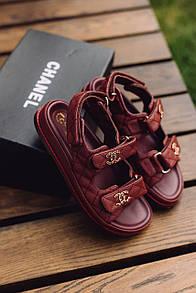 Жіночі Босоніжки Chanel Sandals Bordo Leather
