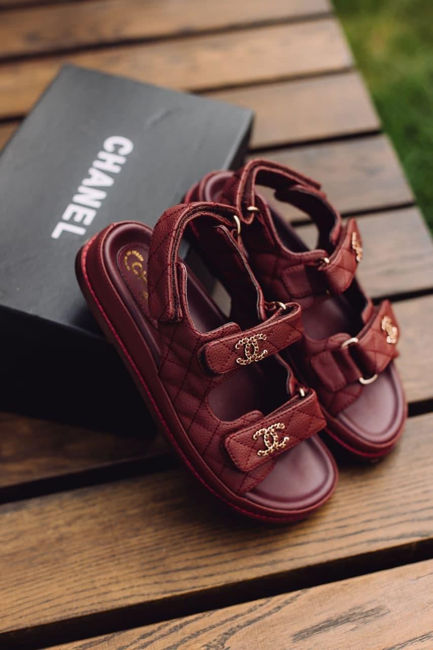 Женские сандали Chanel Sandals Bordo Leather