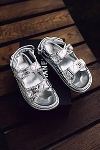 Жіночі Босоніжки Chanel Sandals Silver Leather
