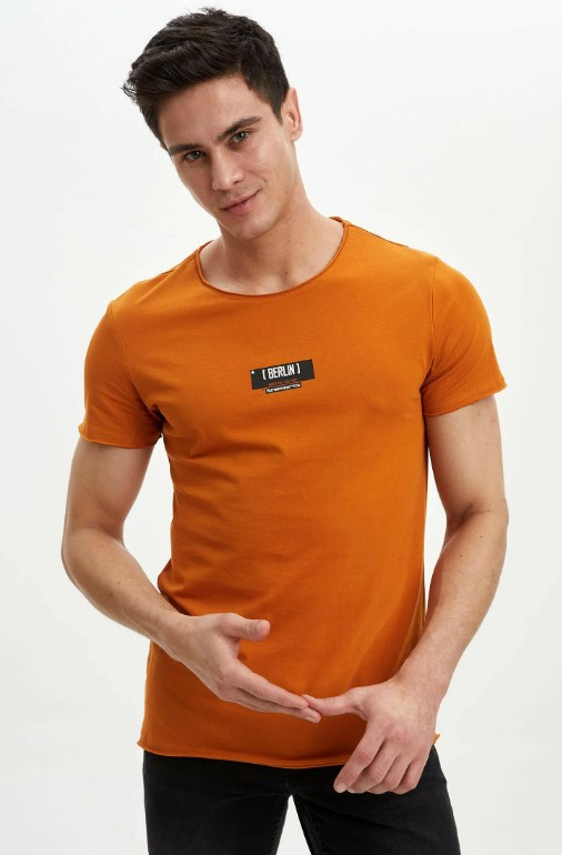 Оранжевая мужская футболка Defacto/Дефакто с надписью Berlin