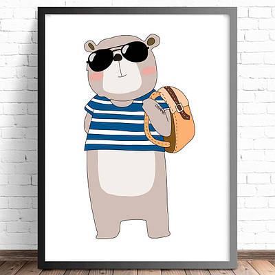 Плакат хіпстер Ведмідь формат А3