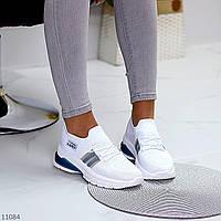 """Жіночі текстильні кросівки Білі з синім """"Venera"""", фото 1"""