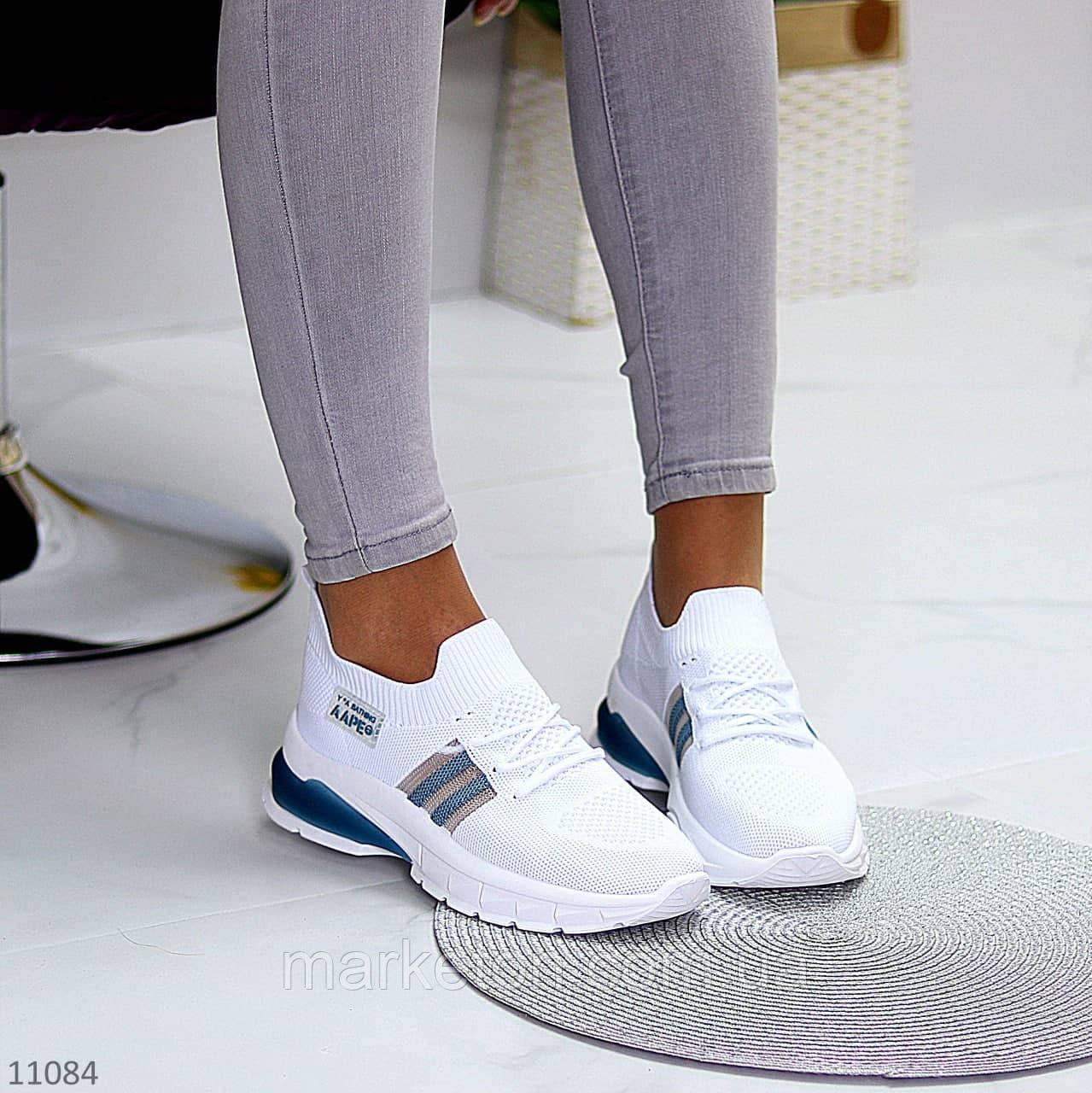 """Жіночі текстильні кросівки Білі з синім """"Venera"""""""