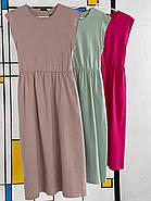 Плаття завдовжки міді з резинкою на талії, кишені в бічних швах, фото 2