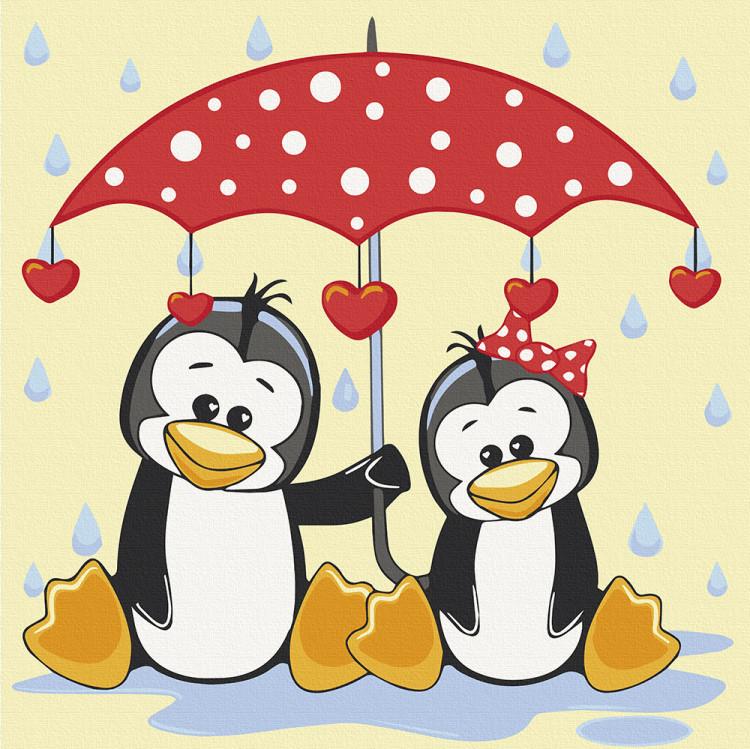 Картина по номерам Art Craft Пингвины под зонтиком 30х30 см 15543-AC
