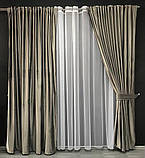 Комплект оксамитових штор 200х270 на трубній стрічці з підхватами Якісні штори блекаут Колір Сірий, фото 2