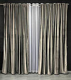 Комплект оксамитових штор 200х270 на трубній стрічці з підхватами Якісні штори блекаут Колір Сірий, фото 3