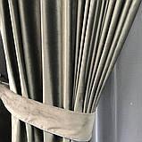Комплект оксамитових штор 200х270 на трубній стрічці з підхватами Якісні штори блекаут Колір Сірий, фото 4