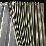 Комплект оксамитових штор 200х270 на трубній стрічці з підхватами Якісні штори блекаут Колір Сірий, фото 6