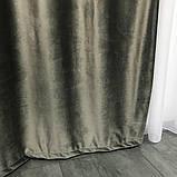 Комплект оксамитових штор 200х270 на трубній стрічці з підхватами Якісні штори блекаут Колір Сірий, фото 7