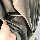 Комплект оксамитових штор 200х270 на трубній стрічці з підхватами Якісні штори блекаут Колір Сірий, фото 8