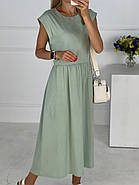 Летнее женское платье миди с карманами в боковых швах, фото 3