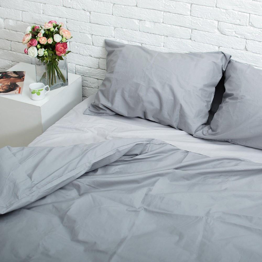 Комплект постельного белья Хлопковые традиции Семейный светло-серый/тёмно-серый PF027 (SD229)