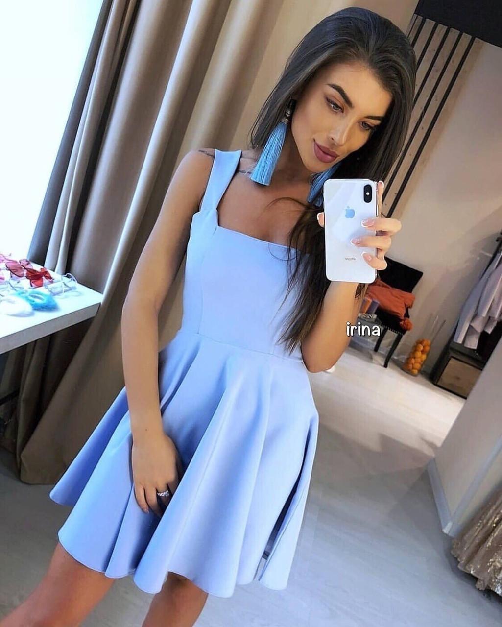 Женский костюм, костюмный креп, р-р S-M; M-L  (голубой)