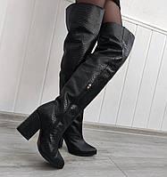 Високі жіночі чоботи на підборах принт-пітон, фото 1
