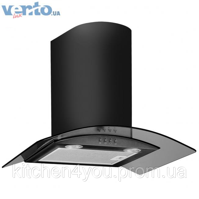Ventolux Ferrara 60 AN (800) декоративна кухонна витяжка, чорна мат. емаль / чорне скло
