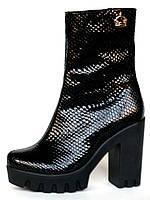 Ботинки женские на каблуке и тракторной платформе из фактурной лаковой кожи