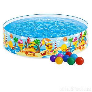 Дитячий каркасний басейн Intex 58477-1 «Утинный риф», 122 х 25 см, з кульками 10 шт, (Оригінал)