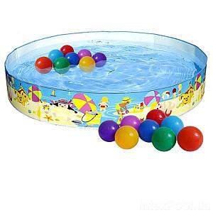 Басейн дитячий надувний Intex 56451-1 «Пляж на мілководді», 152 х 25 см, з кульками 10 шт,