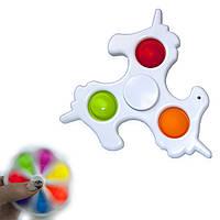 Антистрес іграшка Pop It Сімпл Дімпл Спинер Єдиноріг (білий)