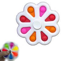 Антистрес іграшка Pop It Сімпл Дімпл Спинер Квітка білий