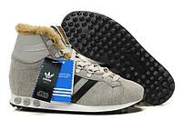 Зимние мужские кроссовки Adidas Jogging Hi SW Star Wars Chewbaca, кроссовки адидас чубакка с мехом серые