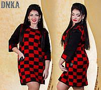 Яркое женское платье в клетку короткое прямое со вставками из эко-кожи  рукав три четверти плотная вязка батал