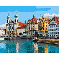 Картина за номерами Дивовижна Швейцарія 40*50 на полотні в коробці Santi
