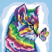 Картина за номерами на полотні економ 40*40 Кіт, DankoToys (10)
