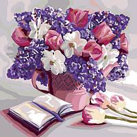 Картина за номерами на полотні економ 40*40 Квіти, DankoToys (10)