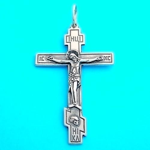 Серебряный православный крест - нательный мужской крестик из серебра 925 пробы (50 х 32 мм, 7 г)